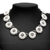 Vintage Crown Trifari White Lucite & Silver Tone Metal Daisy Necklace Sixties
