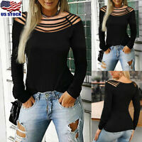 Sexy Womens Hollow Out Long Sleeve T Shirt Ladies Casual Slim Blouse Tops Tee US