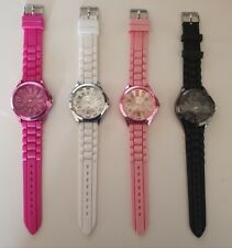 Colourful metalic finish Womens Ladies fashion watch on silicone rubber band