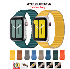 For Apple Watch Series 6 5 4 3 2 1 Band 44mm 40 Leather Loop Band Magnetic Strap