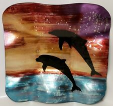 New Nautical Coastal Sunset Dolphin Glass Hand Painted Plate Tray Platter Decor