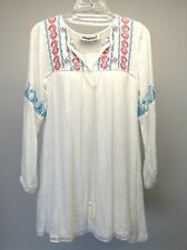 MEGHAN Los Angeles Anthropologie NEW White L/S Embroidered BOHO Tunic Top S