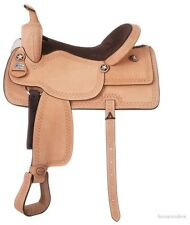 16 Inch Western Saddle - Cowby Roughout - Serpentine Tooling - Suede Seat