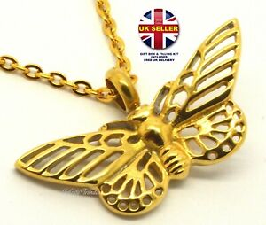 CREMATION URN ASHES NECKLACE 24k GOLD PLATED BUTTERFLY KEEPSAKE PENDANT