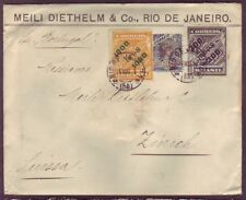 BRAZIL to SWITZERLAND SURCHARGES on NEWSPAPER STAMPS & MORE - RARE 1899 COVER #1