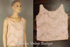 Vtg Pink Wool Knit Sequins Embellished Statement Tank Top Blouse Shell Shirt M