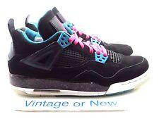 Girls Nike Air Jordan IV 4 Black Vivid Pink Dynamic Blue Retro GS 2012 sz 7Y