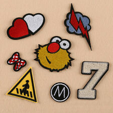 7pcs Sew Iron on Embroidered Patch Badge Bag Cloth Applique Heart Thunder DIY