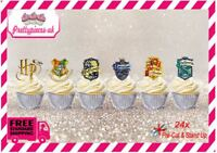 Harry Potter House Badges 24 Stand-Up Pre-Cut Wafer Paper Cup cake Toppers