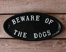 Beware Of The Dogs Sign Warning Gate Sign Black Cast Antique Style ~ WARN-01-BL