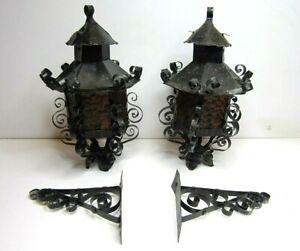 Vintage Spanish Gothic Black Scroll  Amber Glass Wall Sconce Lantern Pair