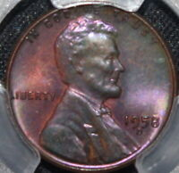 1958 D Penny Lincoln Cent Monster Pink-Purple Satin Toned Toner  PCGS MS65 LOOK!
