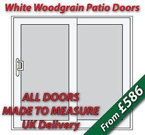 White Woodgrain uPVC Sliding Patio Doors | CHROME handles & SILVER spacer bars