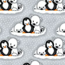 Fabric Baby Polar Bears and Penguins on Grey Flannel by the 1/4 yard BIN