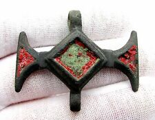CELTIC IRON AGE BRONZE ENAMELED HORSE HARNESS PENDANT- WEARABLE ARTIFACT - F50