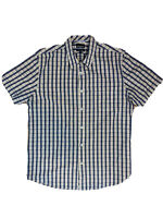 Sportscraft Mens Size M Egyptian Cotton Checked Button Down Shirt Short Sleeves