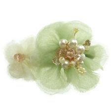Barrette Pince à Cheveux  verte et jaune fleurs perles blanches et transparentes