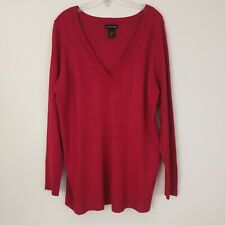 Lane Bryant Pullover Sweater Size 18/20 Red Rayon Blend V-Neck Long Sleeve