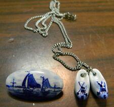 Vintage (2) Delft Dutch Souvenirs Oval Sailboat Pin & Clog Necklace Excellent