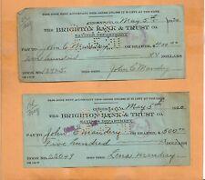 THE BRIGHTON BANK & TRUST CHECKS 1920  VINTAGE ADVERTISING