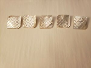 """5~ 1 1/16"""" Large Square Craved Tops Antique Mother of Pearl Buttons Metal Shank"""