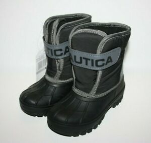 Nautica NS-83 Albermarle Snow Rain Unisex Toddler Boots Black/gray Sz 9 10