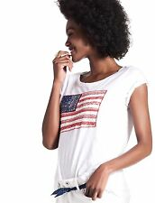 Lucky Brand - Women's XS - NWT - White American Flag Appliqué Cotton Tee/T-Shirt