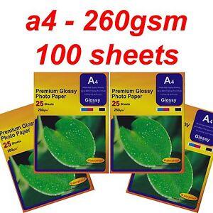 A4 Photo Paper Glossy 260gsm Inkjet Deskjet Printer White Photopaper 100 Sheets