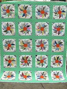 Antique  PINWHEEL QUILT Hand PIECED Hand STITCHED  FEED SACK FABRIC ALL COTTON