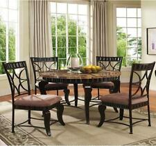 NEW 5PC GALIANA MARBLE TOP ANTIQUED BRONZE FINISH METAL ROUND DINING TABLE SET