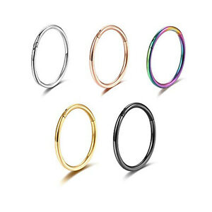 1-6x Piercing Nose Hoop Sleeper Clicker Ring Septum Ear Surgical Steel Jewellery