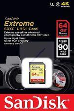 SANDISK EXTREME SDXC SD XC 64GB 64G 64 G UHS-I U3 CLASS 10 90MB NEW