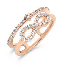 Wide Infinity Right Hand Band Ring 18K Rose White Yellow Gold Pave Diamond