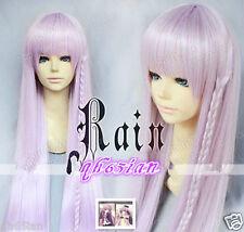 80CM Dangan Ronpa Kyouko Kirigiri Cosplay Wigs Braid Light Purple +wig cap
