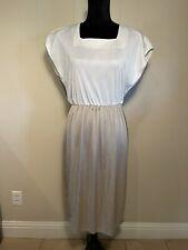 New listing Vintage 80s Caron Petite beige/white Two Tone slinky Jersey Dress 14
