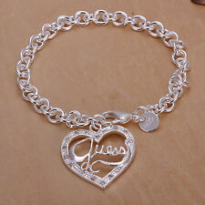 New WOMEN 925 STERLING SILVER FILLED Bracelet GUESS Heart Pendant Chain Bracelet