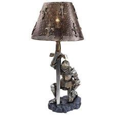 Weary Warrior Knight Kneeling in Full Battle Armor Table Desk Console Lamp