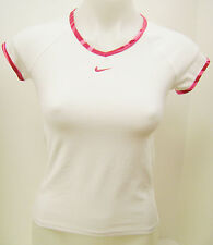 NEW NIKE Womens Dri Fit Border Tennis Top White/Pink/Red 206794-101 SMALL