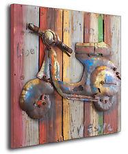 Moto Italy Vespa MetallBild 3D Roller Holz Wandrelief Motorrad Metall Bild 364
