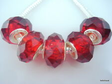 30pcs Red Faceted Crystal Glass Big Hole Beads Fit Charm Bracelet S08