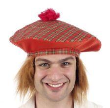 Da Uomo Tam O Shanter Cappello con pelliccia pelo scozzese scozzesi FANCY DRESS hat NUOVO H