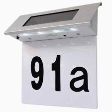 vidaXL Solar LED House Number Light Stainless Steel Wall Plaque Doorplate