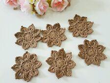 Lot of 12 Hand Crochet Doilies Cotton Snowflake 7 cm Appliques ornaments - Brown