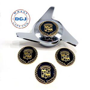 Cadillac Black on Gold Lowrider Wire Wheel Metal Chips Emblems Size 2.25