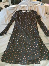 New Look Ladies Black Pink Spotty Skater Dress Size 12
