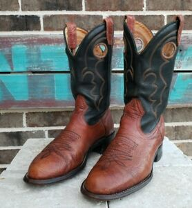 Boulet Womens Boots 6.5 Black Leather Western Cowboy Cowgirl Canada Point Toe Stack Heel Hippie Boho Western Cowgirl