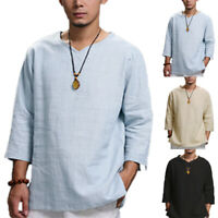 US STOCK Men's Long Sleeve Linen T Shirts Casual Loose Hippy Yoga Beach Top Tee