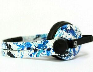 Custom Cans White + Blue Splatter Sennheiser HD25 DJ Headphones 2yr warranty