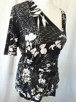 Women's Wrap Top Blouse Size UK 18 ❤TU❤ Black Floral Short Sleeves Summer Casual