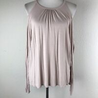 Michael Stars Womens Cold Shoulder Top One Size Pink Stretch Long Sleeves Top